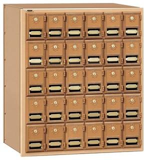 30-Door Brass Mailbox Tan