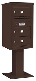 8-Door Mailbox With Pedestal Bronze