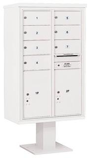 "66.75"" 4C Pedestal Mailbox White"