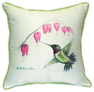 "Betsy Drake Hummingbird Large Pillows 18""x18"" Set of 2"