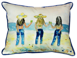 """Betsy Drake Sandy Bottoms Large Indoor/Outdoor Pillows 16""""x20"""" Set of 2"""