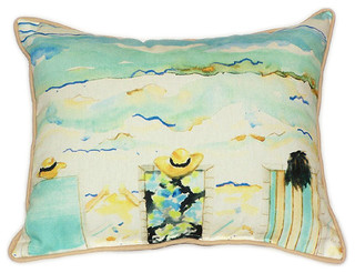 """Betsy Drake Bottoms Up Again Large Indoor/Outdoor Pillows 16""""x20"""" Set of 2"""