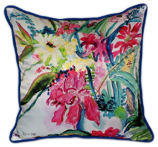 "Betsy Drake Multi Florals Large Pillows 18""x18"" Set of 2"