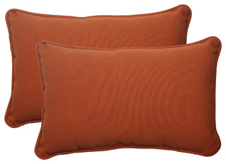 Cinnabar Burnt Orange Rectangle Throw Pillow Set of 2