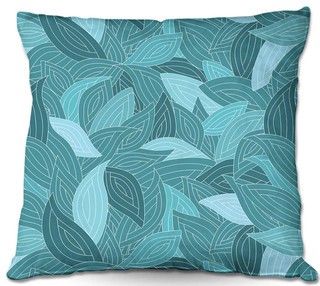 DiaNoche Outdoor Pillows by Julia Grifol Blue Leaves II