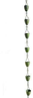 Verdigris Flower Cup Rain Chain Full Length