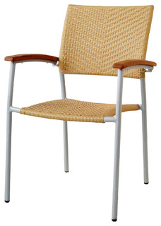 Outdoor Chair With Rattan Back and Seat