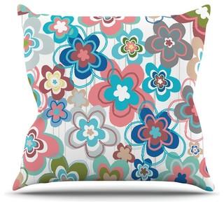 "Jolene Heckman ""A Marsala Morning"" Multicolor Floral Throw Pillow 16""x16"""