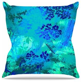 "Nina May ""Wildflower Blue"" Teal Blue Throw Pillow 26""x26"""