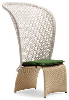 Taupe Exotica Dining High Back Chair Sunbrella Black Cushion