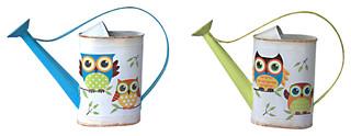 Garden Owl Watering Can Set of 2