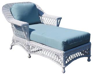 Bar Harbor Chaise Lounge in White Siesta Pompeii Fabric