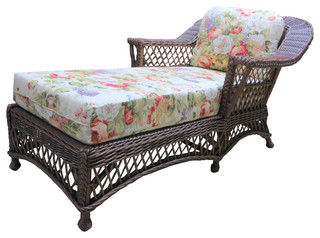 Bar Harbor Chaise Lounge in Brown Wash Adobe Fabric