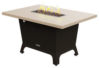 Rectangular Fire Pit Table 52x36x1.5 Propane Beige Top Bronze