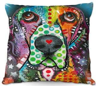 DiaNoche Outdoor Pillows by Dean Russo Basset Hound Dog 31