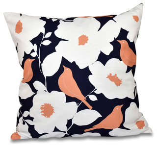 """Modfloral Floral Outdoor Pillow Navy Blue 18""""x18"""""""