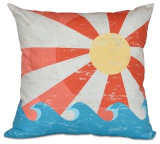 Sunbeams Geometric Print Outdoor Pillow Orange 20x20