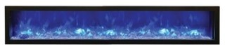 Slim Indoor/Outdoor Electric Fireplace With Black Steel Surround 88""