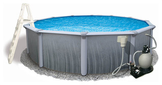 """Martinique 52"""" Deep 7"""" Top Rail Metal Wall Pool Package 27'x52"""""""
