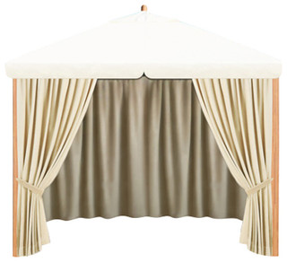 10' Square Alize Pavilion Top Canopy and Privacy Curtains Ecru
