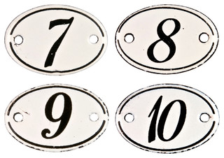 Consigned Four Vintage French Porcelain Enamel Hotel Numbers