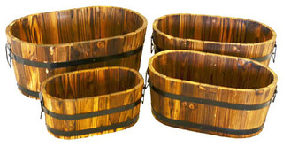 Wood Oval Planters Burnished Planters for Garden Patio 4-Piece Set