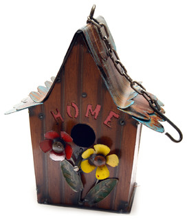 Hanging Home Birdhouse With Flowers