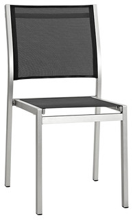 Shore Outdoor Patio Aluminum Side Chair Silver Black