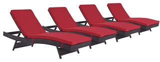 Convene Chaise Outdoor Sectional Series Set of 4 Cushion: Red