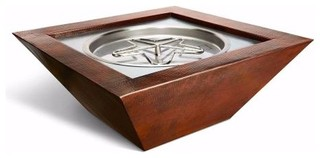 """120V Sedona 40""""x16"""" Square Copper Fire and Water Bowl NG"""