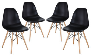 Modway Pyramid Dining Side Chairs Set of 4 EEI-1316-BLK