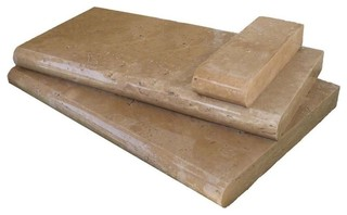 "Tuscany Chocolate Pool Copings Travertine Bull Nosed 12""x24"" 10 Pieces"
