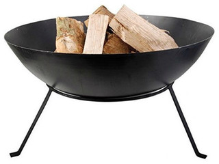 """Black Cast Iron 23"""" Outdoor Fire Pit Bowl With Stand"""