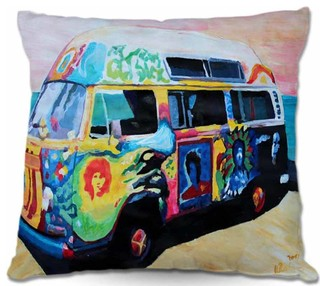 "Outdoor Pillow Here Comes the Sun Volkswagon Bus 18""x18"""
