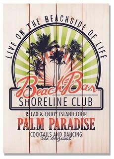 Beach Bar Club Indoor/Outdoor Full Color Cedar Wall Art 14x20