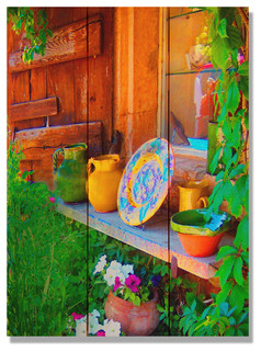 French Pottery Indoor/Outdoor Full Color Cedar Wall Art 11x15