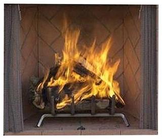 "42"" Masonry Outdoor Wood Fireplace With Ivory Herringbone Brick Liner"