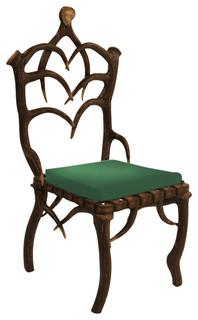Cast Aluminum Antler Dining Side Chair Green