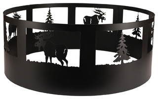 Coast Lamp Rustic Living Pine Tree and Moose Campfire Ring Black