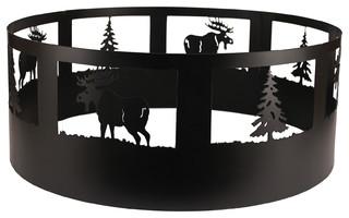 Coast Lamp Rustic Living Pine Tree and Moose Campfire Ring Black