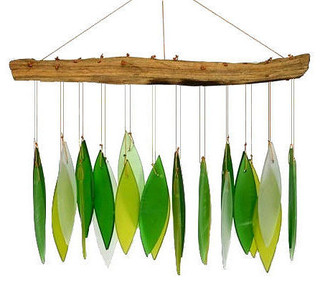 Spring Leaves and Driftwood Glass Chime