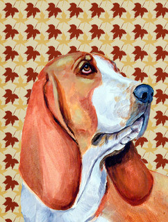 Basset Hound Fall Leaves Portrait Flag Canvas House Size
