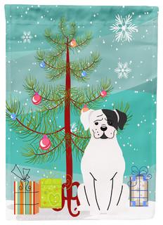 Merry Christmas Tree White Boxer Cooper Flag Canvas House Size