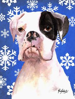 Cooper Winter Snowflakes Boxer Flag Canvas House Size