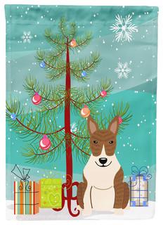 Merry Christmas Tree Bull Terrier Brindle Flag Canvas House Size
