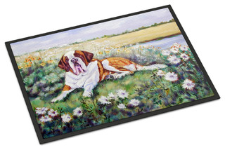 """Saint Bernard in Flowers Indoor/Outdoor Mat 24""""x36"""""""