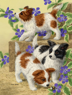 Papillon Pups Flag Canvas House Size