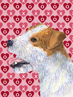 Jack Russell Terrier Hearts Love and Valentine's Day Flag Canvas House Size