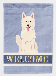 White German Shepherd Welcome Flag Canvas House Size