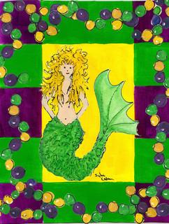 Mardi Gras Mermaid Flag Canvas